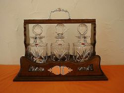 Tantalus in Walnut with Staffordshire crystal decanters